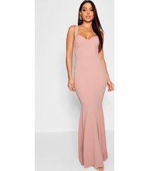 fitted fishtail maxi bridesmaid dress, blush