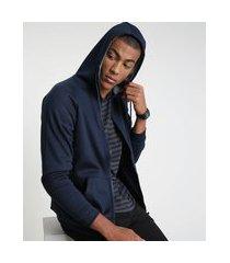 blusão masculino em moletom felpado com capuz e bolsos azul marinho