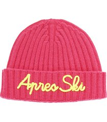 cashmere blended fuchsia hat with yellow fluo embroidery