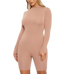 women's naked wardrobe the nw all body long sleeve romper, size x-large - brown