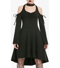 cold shoulder lace-up cut out skater gothic dress