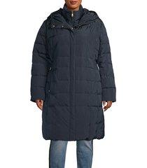cole haan women's quilted cinch-waist gilet down coat - navy - size 1x (14-16)