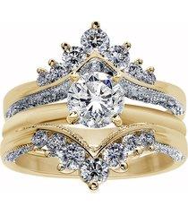 1.50 ct round diamond 18k yellow gold over enhancer wrap wedding ring