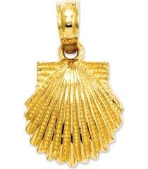 14k gold charm, scallop shell charm