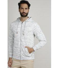 blusão masculino em moletom felpado com capuz e bolsos cinza mescla claro