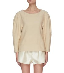 stitched-on panel puffed sleeves top