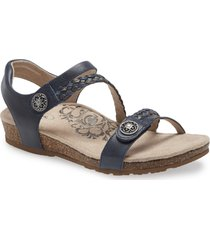 aetrex 'jillian' braided leather strap sandal, size 11 in navy leather at nordstrom