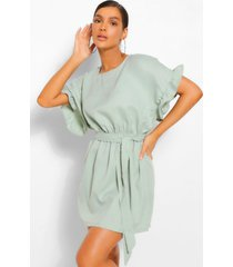frill sleeve belted shift dress, sage