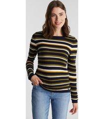 sweater con textura de rayas azul marino esprit