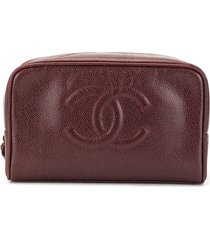 chanel pre-owned 1994 cc cosmetic bag - brown