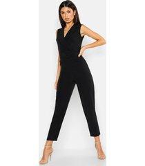 woven blazer belted jumpsuit, black