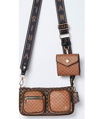 river island womens brown ri double pouchette cross body bag