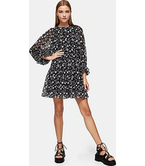 black and white tiered batwing chuck on mini dress - monochrome