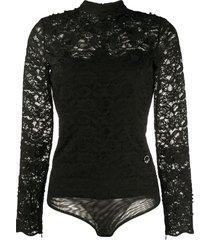 just cavalli sheer lace bodysuit - black