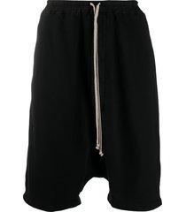 rick owens drkshdw cotton drop-crotch shorts - black