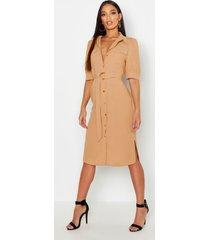 midi utility blouse jurk met pofmouwen, zand