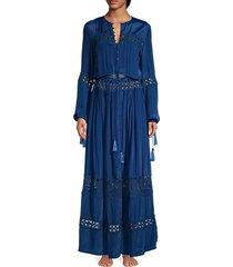 lace button-front maxi dress