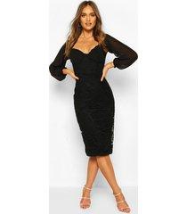 bodycon-midi-jurk van mesh met kant, zwart