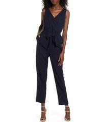 women's vero moda helen milo sleeveless tie waist jumpsuit, size large - blue