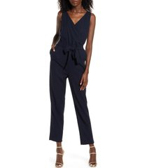 women's vero moda helen milo sleeveless tie waist jumpsuit, size medium - blue
