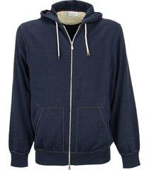 brunello cucinelli cotton hooded sweatshirt with zipper