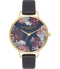 olivia burton women's winter blooms black leather strap watch 30mm