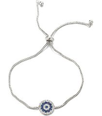luxe white & blue crystal evil eye adjustable bracelet