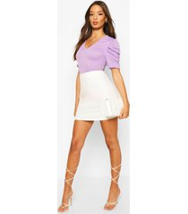 ribbed puff sleeve v neck top, lavender