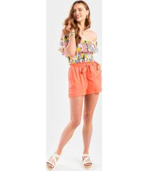 adaleen paperbag front tie shorts - coral