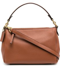 coach zip-up leather tote bag - brown