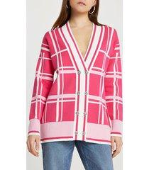 river island womens pink check cardigan