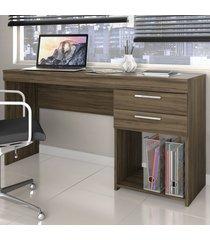 mesa para escritório office 2 gavetas nogal trend - notavel