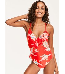 desert flower frill front one-piece swimsuit