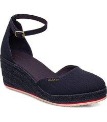 wedgeville plateau sandale sandalette med klack espadrilles blå gant