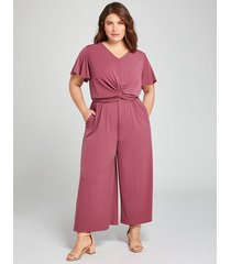 lane bryant women's twist-front wide leg crop jumpsuit 14/16p maroon