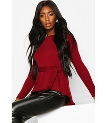 jumbo rib hem peplum long sleeve top, berry