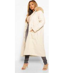 plus nepwollen jas met faux fur capuchon, steenrood