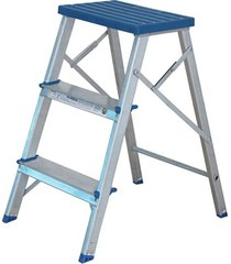 banqueta escada doméstica com 3 degraus em alumínio prata e azul