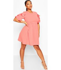 plus extreme ruffle sleeve smock dress, coral