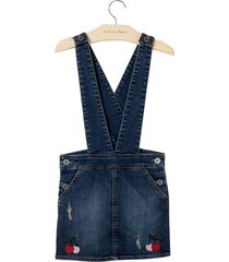 jardineira cherry (jeans medio, 9)
