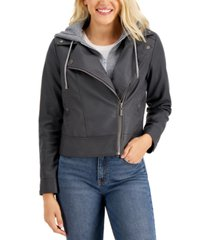 jou jou juniors' hoodie faux-leather moto jacket