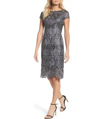 women's la femme lace bateau neck dress, size 0 - metallic