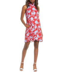 petite women's gibson x hi sugarplum! cavallo ruffle neck date dress, size x-small p - red