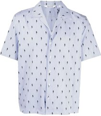 all-over thunderbolt print hawaiian shirt
