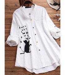 camicetta patchwork con colletto rovesciato manica lunga stampata gatto dei cartoni animati per donna