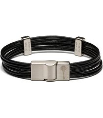 pulseira key design masculina hilton leather silver