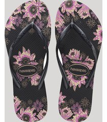 chinelo feminino havaianas slim estampado floral preto