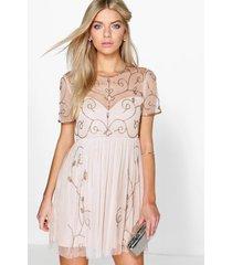 boutique versierde skater jurk, nude