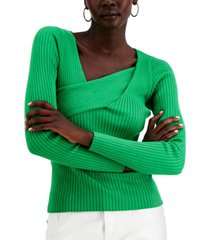 inc asymmetrical rib sweater, created for macy's