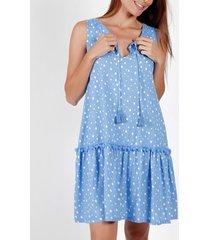 korte jurk admas mouwloze zomerjurk klein onregelmatig stippen blauw